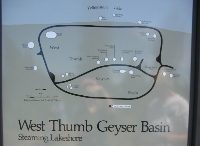 West Thumb Geyser Basin - Map on map of grand prismatic spring, map of yellowstone geysers, map of mud volcano, map of firehole canyon drive, map of mystic falls, map of yellowstone national park, map of old faithful area, map of yellowstone river,